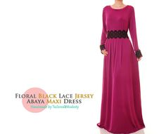 Magenta Jersey Black Lace Long Sleeves Abaya by Tailored2Modesty