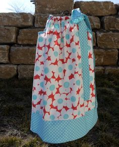 Ready to Ship 5T Red and Aqua flower poppies dress pillowcase dress little girl fabric tie dress. $20.00, via Etsy.