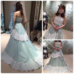 カラードレス こちらもLeaf for Bridesのドレス  緑は似合わないかなと思ってたけど結構良かった 今回着た中では一番花冠に合ってたと思う お値段も今回の中では一番安くて  デザインはシンプルだけどかわいかったです  #2016wedding #2016swd #2016秋婚 #fortunegardenkyoto #treatdressing #thetreatdressing #leafforbrides #プレ花嫁 #カラードレス #ドレスレポ #ナチュラルウェディング by jun_0904