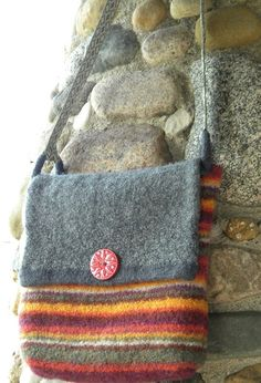Shop for crocheted slippers on Etsy, the place to express your creativity through the buying and selling of handmade and vintage goods. Wooly Bully, Felted Wool Crafts, Recycled Sweaters, Felt Purse, Crochet Slippers, Wet Felting, Knitted Bags, Handmade Bags, Wool Felt