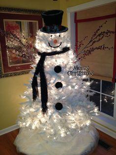 I all of a sudden want a white Christmas tree Snowman Christmas Tree White Christmas Tree Decorations, White Christmas Trees, Christmas Snowman, Winter Christmas, Christmas Time, Christmas Wreaths, Snowman Tree, Snowmen, Xmas Trees