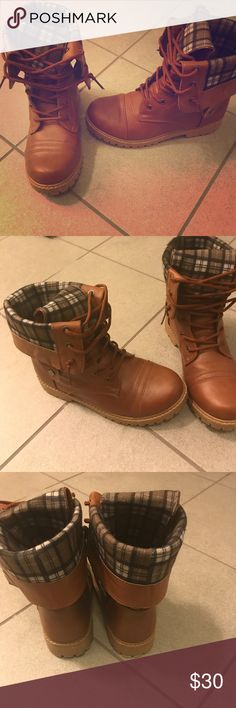 Plaid fold over boots These are screaming fall weather! I absolutely love these boots but due to moving and downsizing closet I will be selling them. They are brown faux leather with a plaid fold over. So cute and worn once!!! anna Shoes Combat & Moto Boots