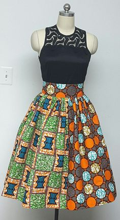 Fully lined Multi African Print Gathered Skirt. Wide Waistband Inside Pockets. Vibrant Orange Green Print. Attached Petticoat. Handmade.