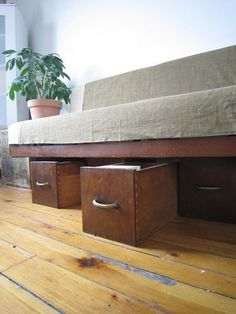Under-Sofa Storage Using Repurposed Wooden Drawers | Apartment Therapy