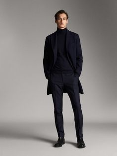 NAVY BLUE CASHMERE WOOL HERRINGBONE COAT - Men - Massimo Dutti