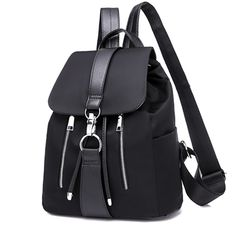 Shop & Buy Women Backpack School Bags For Teenager Girls Nylon Zipper Lock Design Black Femme Mochila Female Backpack Fashion Sac A Dos Online from Aalamey Leather Backpack Purse, Backpack Travel Bag, Small Backpack, Fashion Backpack, Leather Crossbody, Ladies Backpack, Leather Backpacks, Mini Backpack, Black Backpack
