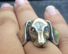 Sterling Silver Dachshund Dog Ring by MorganFischerJewelry on Etsy