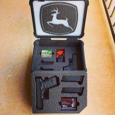 Pelican case with custom foam for a Glock 42 and Glock Pistol cases 32 Acp, Ammo Storage, Glock 42, Pistol Case, Pelican Case, Gun Cases, Pew Pew, Knifes, Wood Boxes