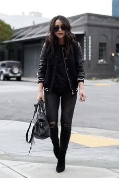 5 Ways to Embrace Menswear Inspired Fashion - - rock it with confidence and style. Leather Varsity Jackets, American Apparel, Hipster Stil, Hipster Fashion, Fashion Edgy, Fashion Black, Mode Inspiration, Fashion Inspiration, Outfits