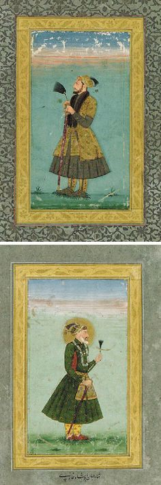 A Double-Sided Album Page With Portraits of Shah Jahan and Dara Shikoh   India, Mughal, 1690-1710