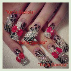 Really long nails . Nail Art Designs, Long Nail Designs, Beautiful Nail Designs, Nails Design, Get Nails, Fancy Nails, Hair And Nails, Fabulous Nails, Gorgeous Nails