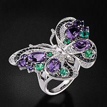 """Кольцо """"Бабочка"""" с цветными камнями и бриллиантами в белом золоте 750 пробы…"""