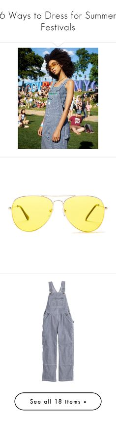 """""""6 Ways to Dress for Summer Festivals"""" by polyvore-editorial ❤ liked on Polyvore featuring waystowear, governorsball, accessories, eyewear, sunglasses, gold, yellow lens glasses, yellow sunglasses, unisex glasses and unisex sunglasses"""