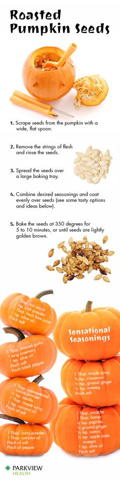 How to roast pumpkin seeds and delicious pumpkin seed recipes, from sweet to spicy. #recipe via @ParkviewHealth