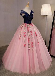 Pink emboridery tulle V neck long beaded evening dress, navy blue appliques prom dress M2507