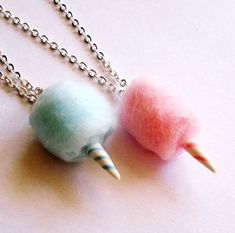 Cotton Candy Carms- made from real cotton, sculpy, and wire