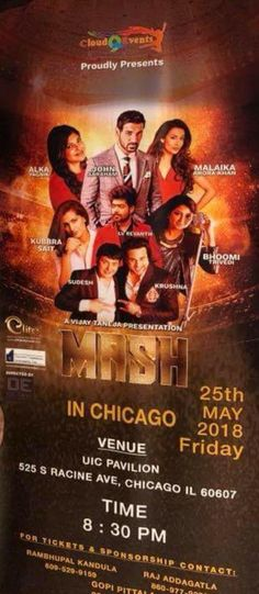 Event: MASH in Chicago Time: 8:30 PM Date: Friday – May 25, 2018 Venue: UIC Pavilion, 525 S Racine Ave, Chicago IL, 60607 For Tickets & Sponsorship, please contact: Rambhupal Kandula – (609) 529-9159 For more details, see the flyer. Related
