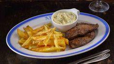 Vepřová játra na roštu sdomácími hranolky atatarkou Steak, Pork, Beef, Kale Stir Fry, Steaks, Ox, Pork Chops