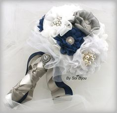 Brooch Bouquet Fabric Bouquet in Navy Blue White and by SolBijou, $300.00