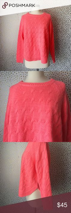Madewell Wallace Neon Pink Cable Knit Sweater Super cute and perfect for fall! Excellent pre owned condition. Acrylic wool mohair fuzzy blend. Size small. No trades!! 010131740gwb Madewell Sweaters Crew & Scoop Necks