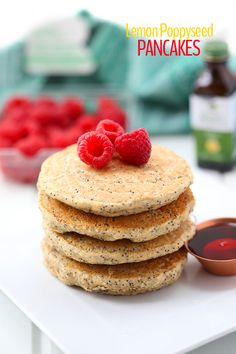 Spring into action with these Healthy Lemon Poppyseed Pancakes! A pancake recipe made with wholesome ingredients that will make you feel good about your next brunch.