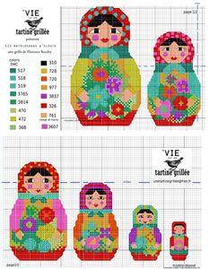 Nesting dolls x-stitch Cross Stitch For Kids, Cross Stitch Love, Cross Stitch Needles, Beaded Cross Stitch, Counted Cross Stitch Patterns, Cross Stitch Charts, Cross Stitch Embroidery, Embroidery Patterns, Hand Embroidery