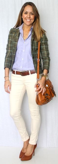 Try with my white pants and checked white and blue shirt  Pair with Tan peep toe heels and tan belt