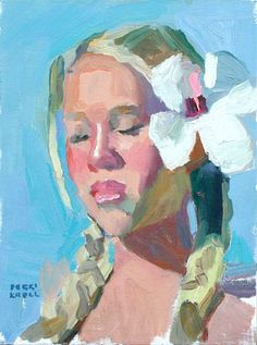 Peggi Kroll Roberts  Mary with a white flower Oil 12