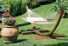 This one is a nice setting just don't like the crochet hammocks want a solid fabric.  Check out other suggestions on site