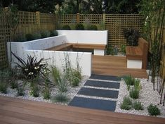 Contemporary garden, like the seating area & stepping stones