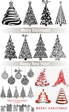 "3 Sets of 28 vector ornate stylized Christmas trees with floral ornaments and swirls, balls and gift boxes for your decorative designs and embellishment. Format: EPS, ai stock vector clip art and illustrations. Free for download. Set name: ""Ornate stylized…"