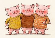 Another pic for Daily Doodle ... The Three Little Pigs. In knitwear.