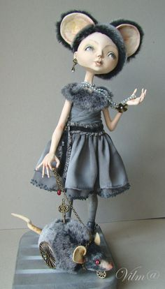 OOAK Art Doll Little Grey Mouse  Free shipping by VilmaDolls, $400.00