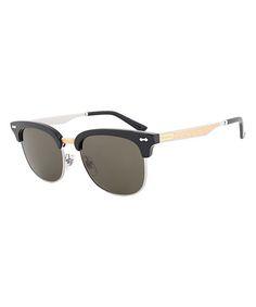 Black & Green Browline Sunglasses