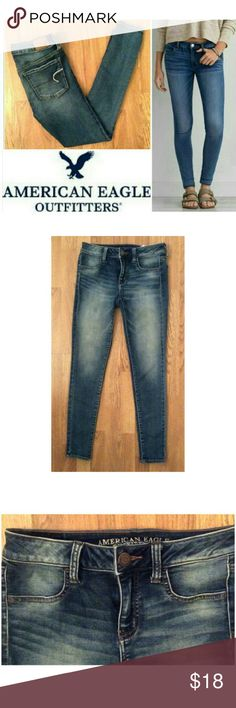 """Jeggings American Eagle Outfitters jeans These comfortable classic American Eagle Outfitters jeggings are perfect for any occasion! Blue cotton blend denim wash with 1% spandex for super stretch fit. Functional back pockets with leather logo tag on back. Size 4 Regular with 28"""" inseam, model shows fit only. Dress up or down with button downs and boots, flats and tees...possibilities are endless! In EXCELLENT condition, NO DAMAGES. Grab yours for less and look chic in American Eagle jeans…"""