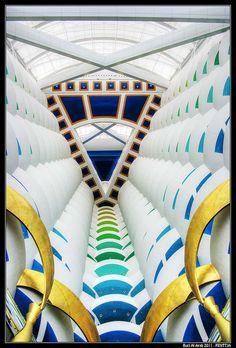 Looking up from the lobby in the Burj Al Arab hotel in Dubai, UAE.