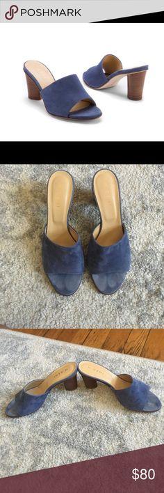 M. Gemi The Erba slides mules in jeans These M. Gemi mules or slides are so pretty in this jean color. They are suede with a leather sole and wooden block heel. These are made in Italy . If you haven't owned any M. Gemi shoes, they're gorgeous! I have worn these around my room, trying in with outfits, but I have yet to wear them out of my apartment. So cute, and this style is so hot right now! I have the dust bag for them.they are size 38.5, but I think the brand runs small, based on my…