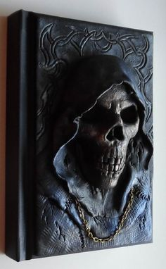Notebook, journal, diary with polymer clay cover, skull, reaper, goth…