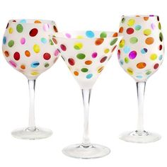 Color Dots Stemware--I have these but display them as deocorative art in our kicthen.  Too pretty to drink out of!
