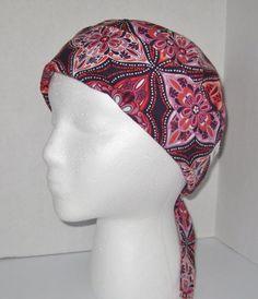 Women's Pixie Style Scrub Hat/Scrub Tech/Nursing/Surgical Hat/Chemo Hat - Purple and Orange Print