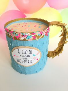 I dont know about you but my coffee mugs are filled with Donuts and Confetti all year long!! This will be an excellent gift to help make someones day more fun, just fill it with your choice of goodies, a gift card from Starbucks, a note, etc. All my Petite pinatas come with 2+ cups of matching confetti.*Original Design* THIS MUG CAN NOT BE CUSTOMIZED. This pinata measures 6.3 high x 8 at it widest part x 5.5 deep. I always say FUN IS IN THE DETAILS. All the little details added to this mini…