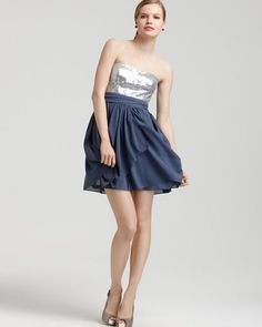 AQUA Strapless, Sequined Top, Teal Cocktail Dress. Visit Page - http://www.ebay.com/itm/-/121714868212?roken=cUgayN
