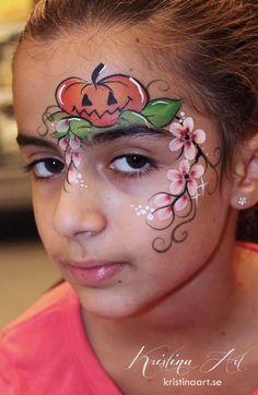 Face painting halloween pumpkin. Ansiktsmålning halloween pumpa. kristinaart.se