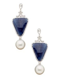 Sapphire, Pearl, & Pave Diamond Drop Earrings by Tara Pearls at Gilt Pearl Jewelry, Jewelry Box, Jewelery, Diamond Drop Earrings, Pearl Earrings, Fancy Earrings, Hanging Earrings, Jewelry Design, Peridot