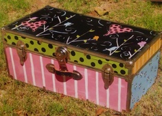 Hand painted funky toy chest! Toy Boxes, Toy Chest, Storage Chest, Imagination, Shabby, Craft Ideas, Hand Painted, Cabinet, Crafts