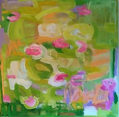 """Water lilies by Reagan Geschardt Oil ~ 24"""" x 24"""""""