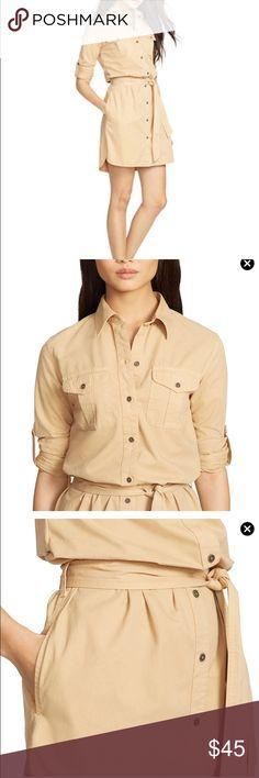 New Medium Ralph Lauren Tan Long Sleeve Shirtdress New with tags Lauren by Ralph Lauren button up cotton twill shirt dress. Belt included. Ralph Lauren Dresses Long Sleeve