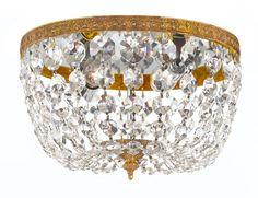 Crystorama - Two Light Olde Brass Italian Glass Bowl Flush Mount : Bright Light Design Center