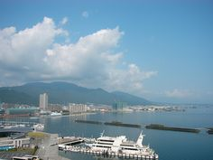 Lake Biwa viewed from Biwako Hotel in Otsu City.