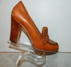 vintage 70s shoes size 7.5 8 high heel loafers by thevintagevoice, $39.00